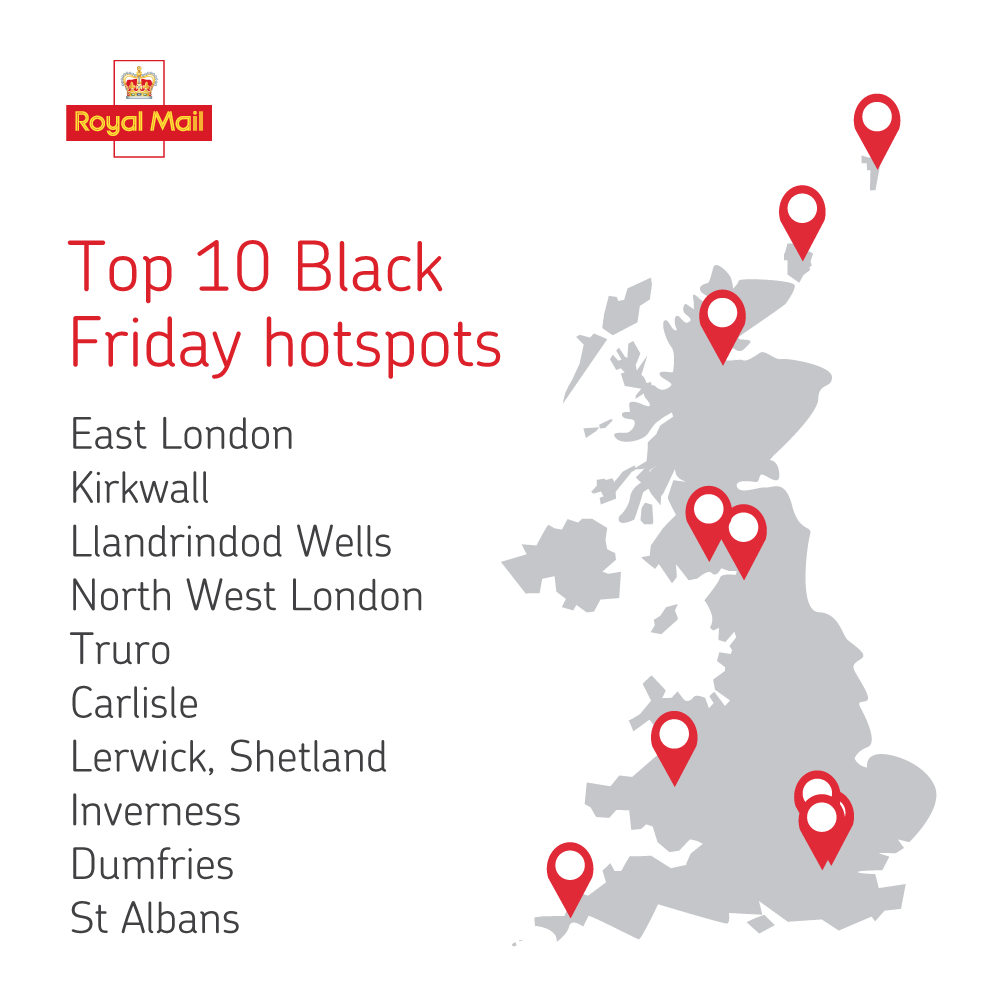 Royal Mail reveals the UK\'s online shopping hotspots for Cyber Week 2018